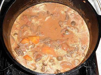 ダッチオーブンで作るビーフストロガノフ