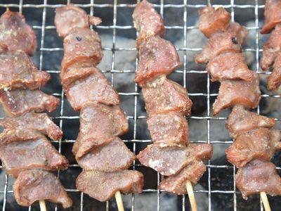 焼き鳥(砂肝) ピート燻製バーベキュー