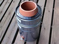 自作の植木鉢&ペール缶タンドール窯