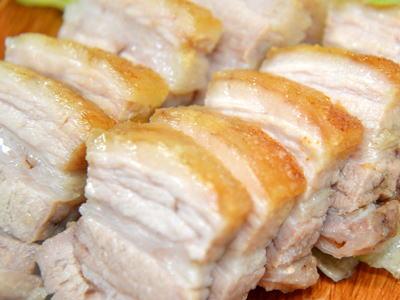 豚バラブロックの岩塩焼き